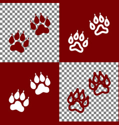 Animal tracks sign bordo and white icons vector