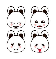 bear teddy kawaii cartoon cute icon set vector image