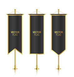 Black vertical banner flag templates vector image vector image
