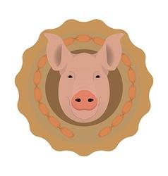 Butchery logo pig head in wieners circle no vector