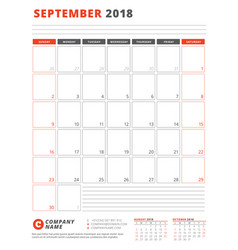 Calendar template for 2018 year september vector