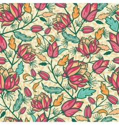 Colorful flowers and leaves seamless pattern vector image vector image