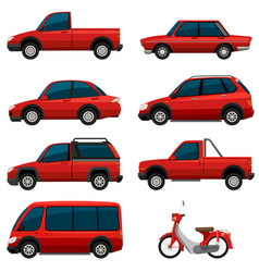 different types of transports in red color vector image