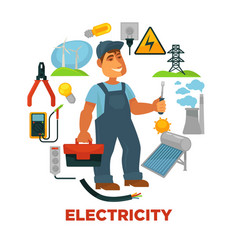 Electrician with toolkit surrounded with vector