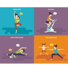 Family with kids active sport life vector