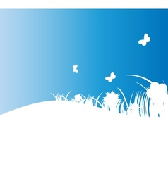 Flower and grass banner vector image vector image