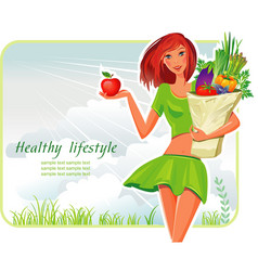 Girl with healthy vegetables vector