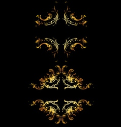 Gold Curves On Black vector image vector image