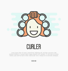 Happy cartoon woman with curlers vector