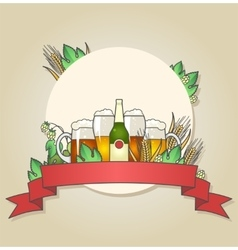 Light and dark beer with wheat and hops vector image vector image