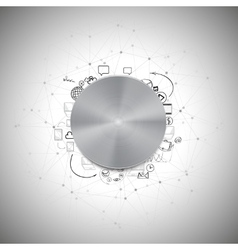 Metal power button with other doodle design vector image