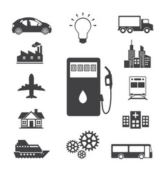 Oil station and fuel icons set vector
