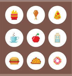 pixel art food computer design icons vector image