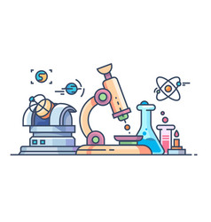 science and research line flat vector image