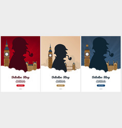 Set of sherlock holmes posters detective vector