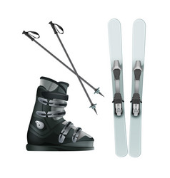 skis boots and sticks vector image vector image