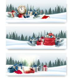 Three nature landscape Christmas banners with gift vector image vector image