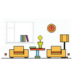 two yellow chairs with lampshade and table vector image
