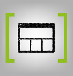 Web window sign black scribble icon in vector