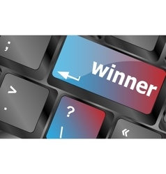 Winner button on the keyboard key close-up vector