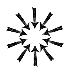 Circle of black grungy arrows vector