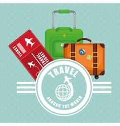 Travel around world ticket suitcase luggage label vector