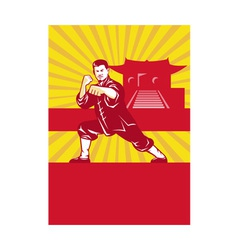 Shaolin kung fu martial arts master retro vector