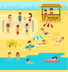 people are resting on the beach summer vacation vector image