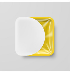 Empty yellow plastic food square container with vector