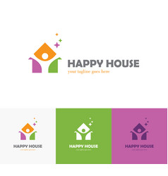 colorful house logo with abstract man silhouette vector image
