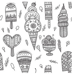 Ice cream seamless pattern in ethnic ornate boho vector