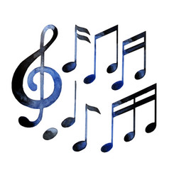 Watercolor musical notes vector