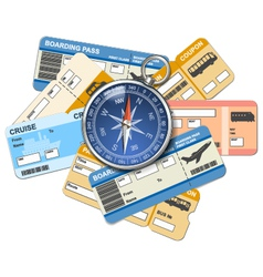 Compass and tickets vector