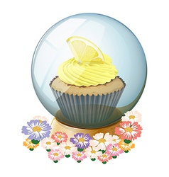 A crystal ball surrounded with flowers vector image