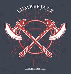 Crossed Axes Lumberjack Graphic Tee T-print vector image