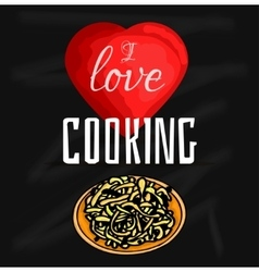 Colorful of i love cooking vector