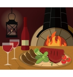 Romantic dinner with a grilled steak vegetables vector