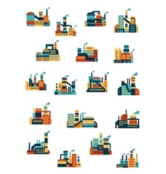 Industrial factories and plants flat icons vector