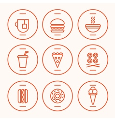 Fastfood line icons vector
