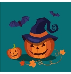 Carved halloween pumpkin wearing a pointed witch vector