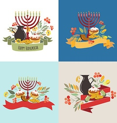 Collection of labels and elements for hanukkah vector