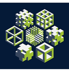 cubical objects vector image