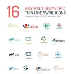 Collection of linear abstract logos - swirls and vector