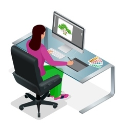 Graphic designer or artist at work drawing vector