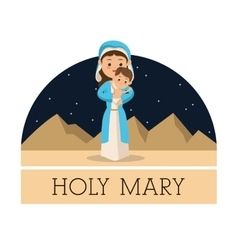 Holy mary with baby jesus icon graphic vector
