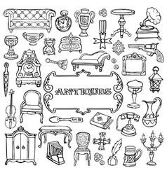 antiques doodle set vector image