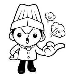 Black and white crazy chef mascot remonstrate vector