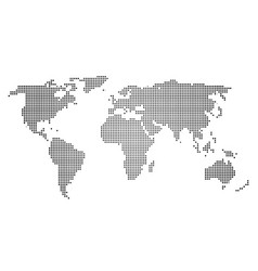 Black halftone world map of small dots in linear vector