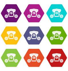 Brougham icon set color hexahedron vector