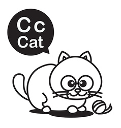 C Cat cartoon and alphabet for children to vector image